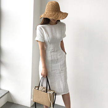 Women Summer Elegant High Waist Pocket Cotton Linen Dress Female Bodycon White Vestido Robe Femme Ete Vintage Jurken Zomer Jurk pocket