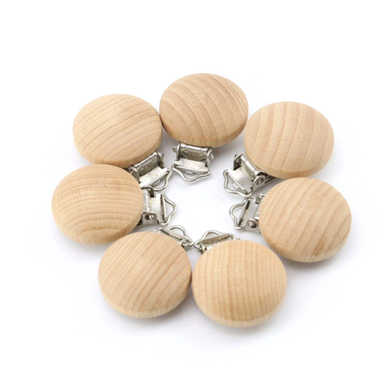 5pcs/lot Fine Quality Baby Pacifier Clips Beech Wood Wooden Pacifier Clips Food Grade BPA Free Necklace Chain Holder