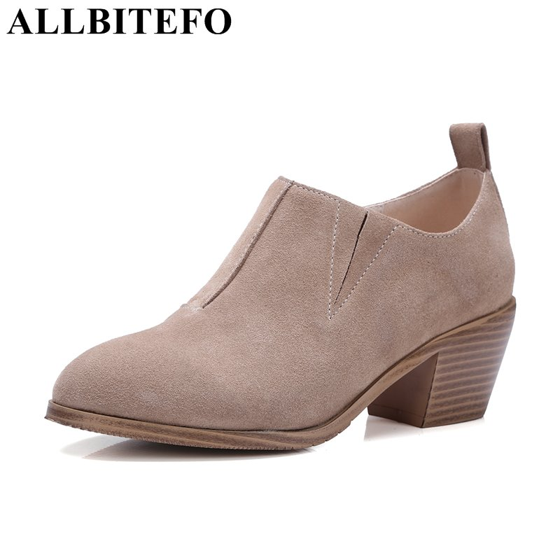 ALLBITEFO fashion casual Nubuck leather medium heel women pumps thick heel high quality ladies shoes spring pumps girls shoes цена 2017