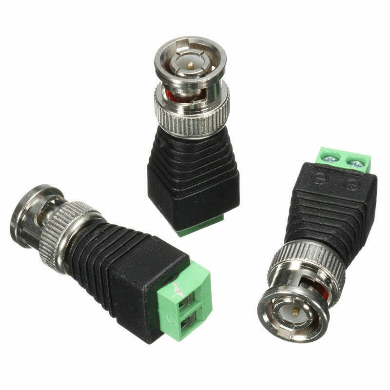10pcs/lot BNC Male Coaxial Balun Connector CAT5 Cable Screw Terminal CCTV Video Camera Adapter Plug Security System Accessories