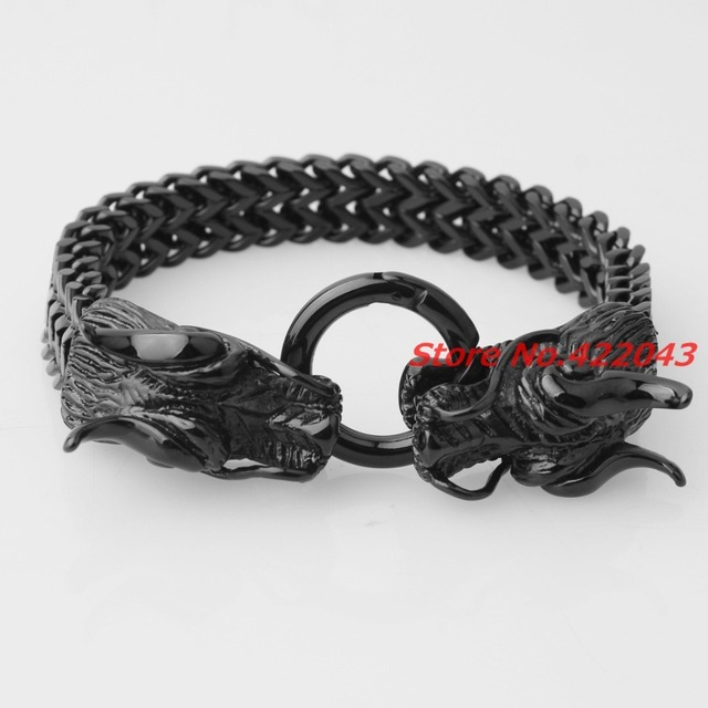 Heavy Dragon Heads Clasp Biker Bracelets Men's Jewelry 316l Stainless Steel Black Tone Figaro Chain Charm Gift 8.6""