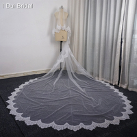 Two Layer 3 Meter Long Elegant Eyelash Lace Edge Bridal Wedding Veil with Comb Attached
