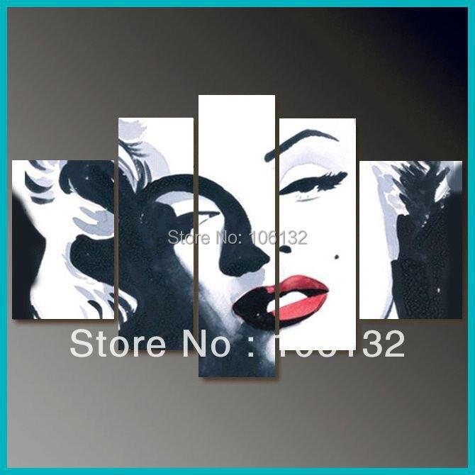 Framed 5 Panel Huge High End Stunning Black And White Wall Art Marilyn Monroe Bedroom Sets