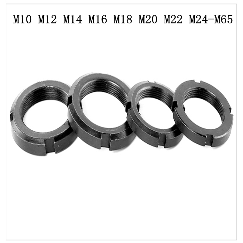 Ambitious Slotted Round Nut Four-slot Back Nut M10 M12 M14 M16 M18 M20 M22 M24-m65 Wide Selection; Home Improvement
