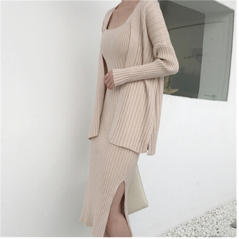 2019 New High quality winter Women's Casual Long Sleeved Cardigan + Suspenders Sweater Vest Dress Two Piece Runway Dress Suit 1