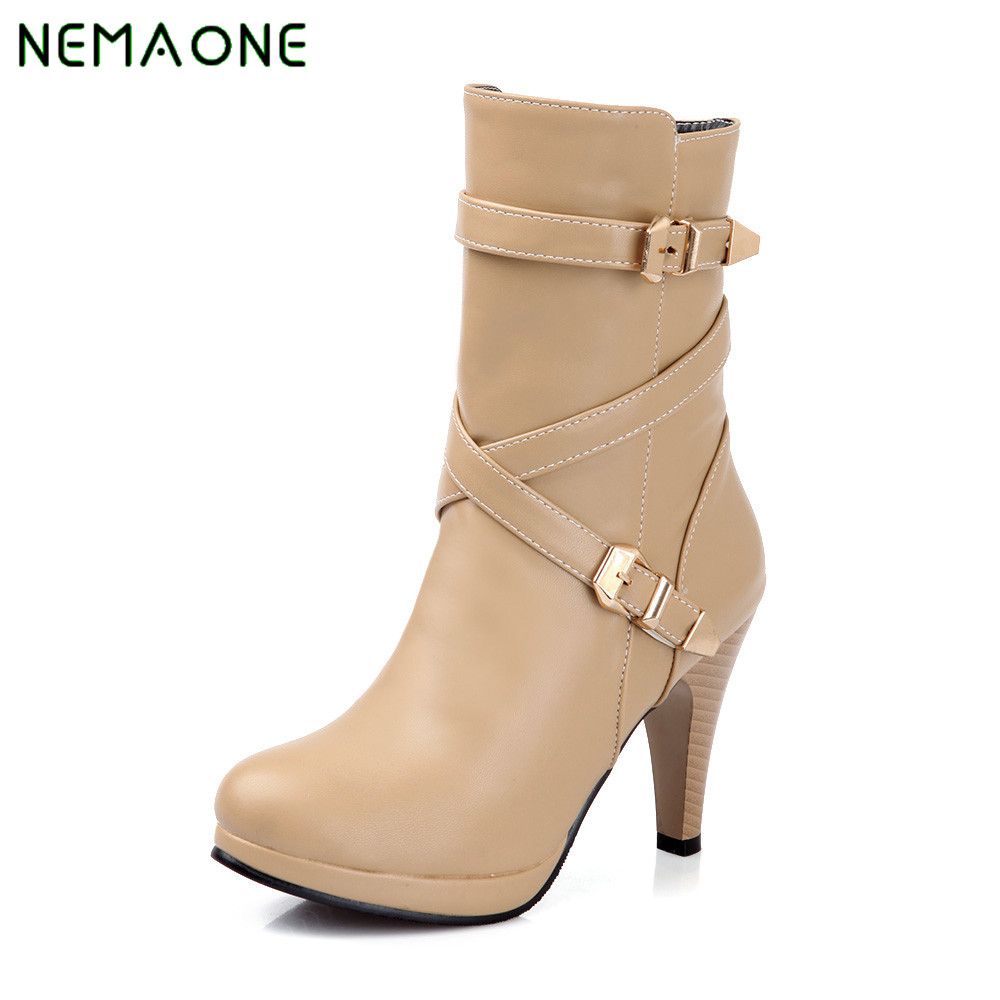 NEMAONE Women Ankle Boots Winter Thick Heel High Heels Black Platform Round toe Square Heel Shoes