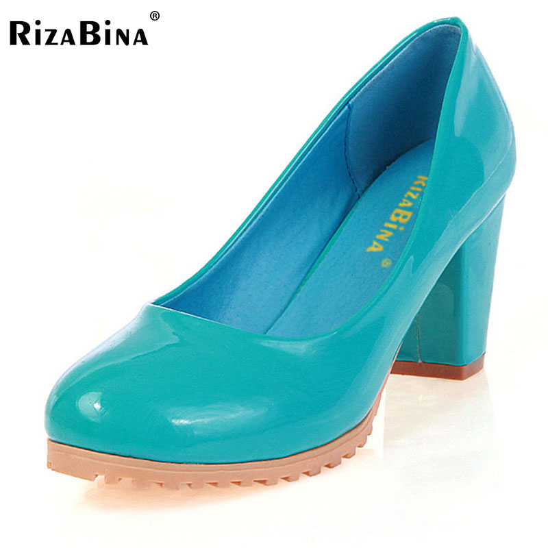 RizaBina women square high heel shoes  patent leather brand round toe heels pumps lady footwear heeled shoes size34-39 P23520