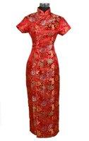 Kızıl Çin geleneksel kadın Uzun Qipao Cheong-sam Elbise Boyutu Sml XL XXL XXXL