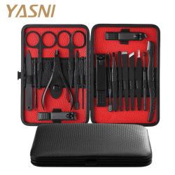 Manicure Set Nail Clippers Kit Pedicure Care Tools Black Men Grooming Kit 18Pcs With Black PU Leather Case for Travel Home NT133