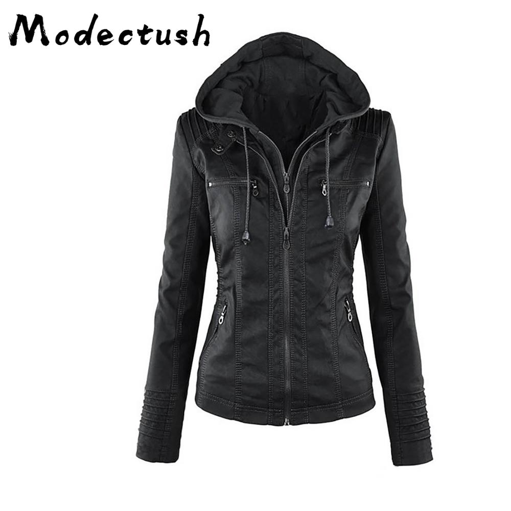 Modecrush New 2019 Women Hooded Basic Motorcycle   Leather   Jacket Plus Size Ruched Zipper Jackets Coats Autumn Feminino Big Size
