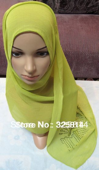Wholesale 2013 New fashion multicolor rhinestones imitated silk fabric muslim hijab,islamic scarf,sequin scarves free shipping