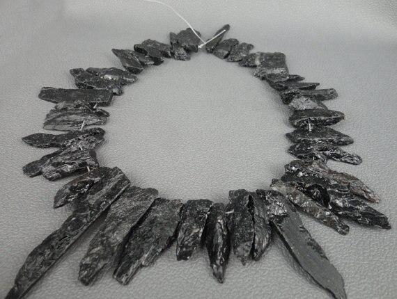 Natürliche Turmalin Flachen Form Perlen Halskette, Schwarz Turmalin Top Gebohrt Scheibe Perlen Lange Anhänger 10-15x30-45mm