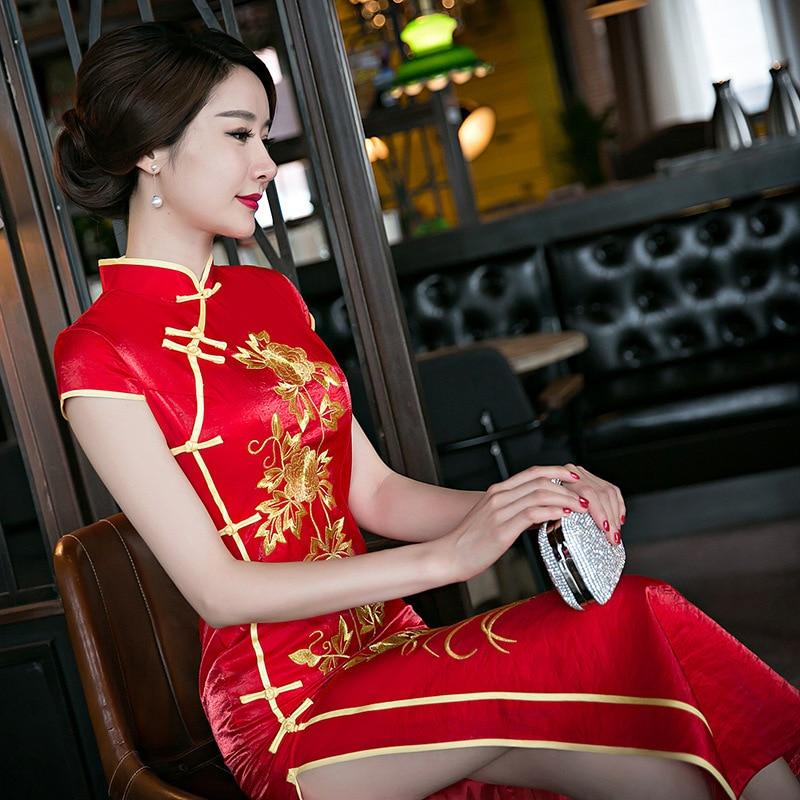 Röda Kvinnor Kinesisk Traditionell Klänning Röd Brud Bröllop - Nationella kläder - Foto 3