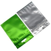 8.5*13cm 100pcs/lot Green Matte Aluminum Foil Clear Plastic Zip Lock Bag Heat Sealable Front Zipper Storage