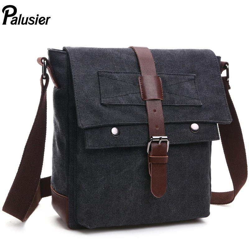 Fashion Men Thick Canvas Shoulder Messenger Package Multifunction Casual  Gentleman Solid Small Crossbody School Bag -in Crossbody Bags from Luggage    Bags ... 1c8e0a8821a59