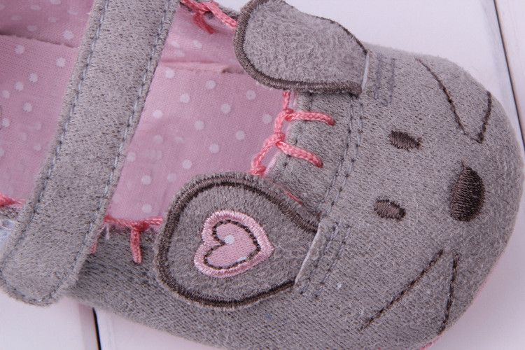 Cute Baby Girls First walkers Cotton Grey Cartoon Mouse Soft with Pattern Shading Soft Sole Baby Toldder Prewalkers Shoe 3 size 5