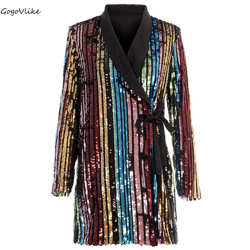 Bling Sequins blazers Women Colorful Striped business OL Office One Piece suit jackets Bar Coat Special Design LT515S50
