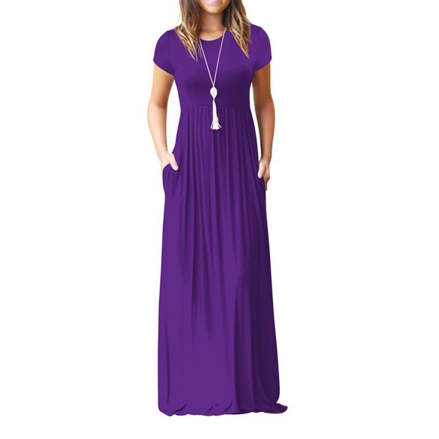 Сарафан женское летнее повседневное длинное платье элегантные вечерние платья с карманами платье с коротким рукавом в пол пляжный Сарафан|Платья|   | АлиЭкспресс