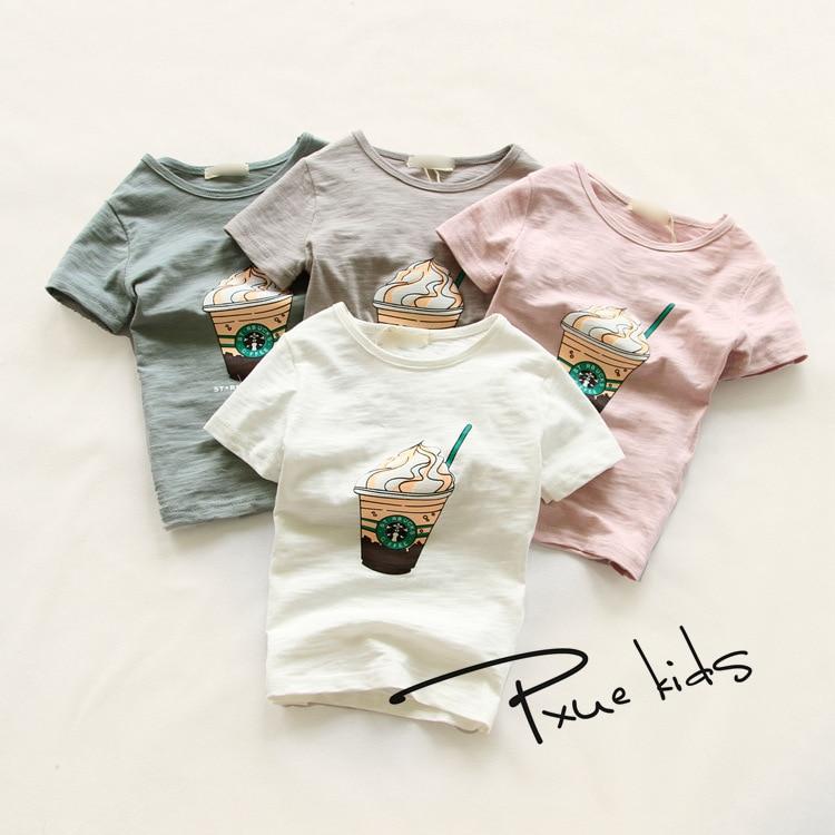 Estilo de verano 2017 nuevos 6 colores de moda de dibujos animados de café de hielo ropa para niños niños y niñas camiseta camisetas camisetas tops ropa
