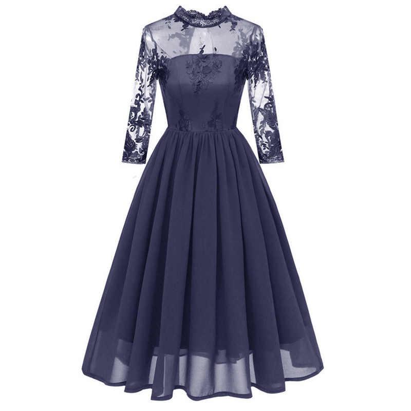 Nouveau femmes de luxe mince en mousseline de soie robe fille vintage clothe femme recadrée manches robes femmes ajouré broderie grande balançoire robe