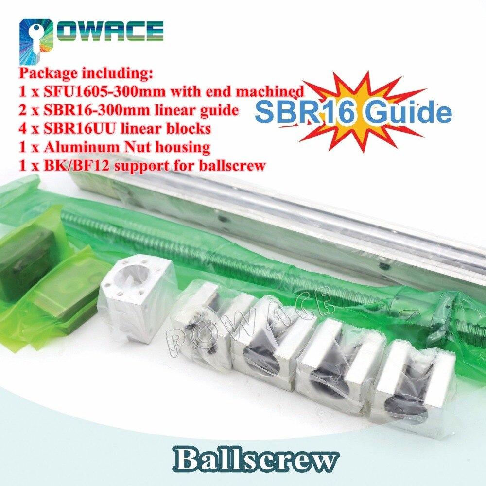 2Pcs SBR16 Line guide 300mm 1 Set SFU1605 Ballscrew 300mm end machined with Nut 1Set BK