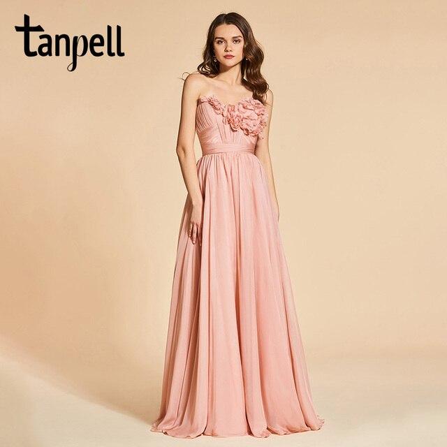 Tanpell flowers prom dresses sweetheart bright dark pink floor ...