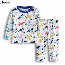 Hooyi/Модный комплект одежды для маленьких мальчиков с рисунком «истребитель» хлопковые пижамы для мальчиков одежда для сна с воздушным самолетом детские комплекты для сна длинная одежда для девочек