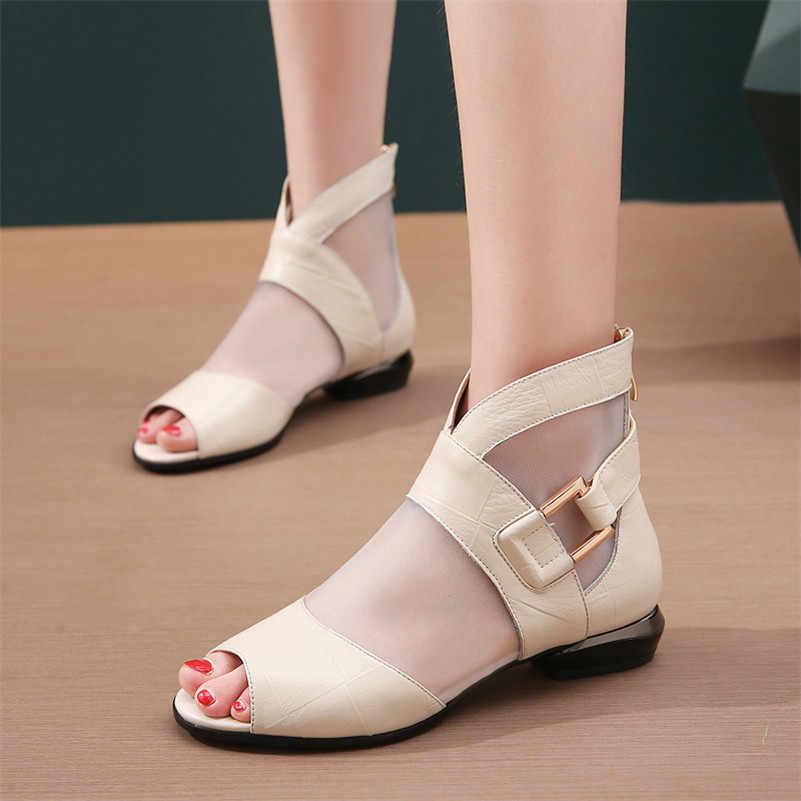 FEDONAS 2019 Sommer Neue Mode Sexy Echtem Leder Hohl Mesh Frauen Stiefeletten Peep Toe Low Heels Party Casual Schuhe frau