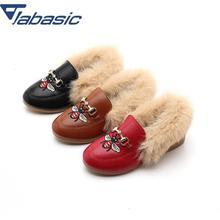 JABASIC/обувь из искусственного меха для девочек, зимняя модная детская обувь для девочек, плюшевые бархатные лоферы, обувь для маленьких девочек, туфли принцессы для вечеринки, кожаная обувь