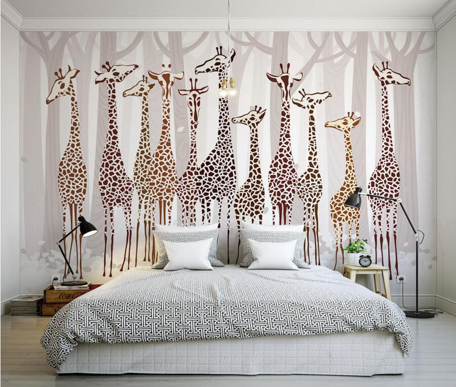 Custom  papel de parede,Nostalgia cartoon giraffe murals wallpaper,living room sofa TV wall children room wallpaper for walls 3d custom 3d murals cartoon wolf papel de parede hotel restaurant coffee shop living room sofa tv wall children bedroom wallpaper