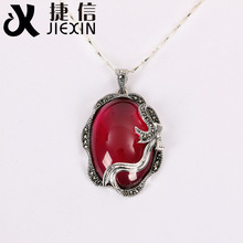 925 sterling silver jewelry silver retro elegant Red Garnet Pendant pendant female palace
