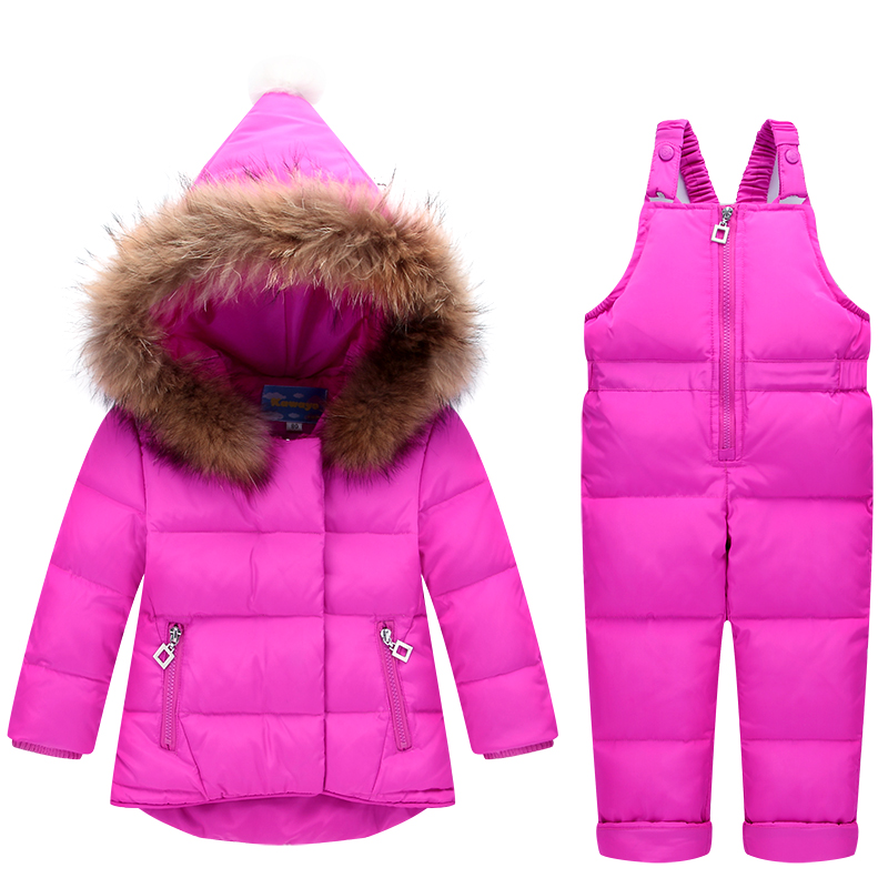 2018 Winter Children Clothing Sets Jumpsuit Snow Jackets+bib Pant 2pcs Set Baby Boy Girls Duck Down Coats Jacket With Fur Hood