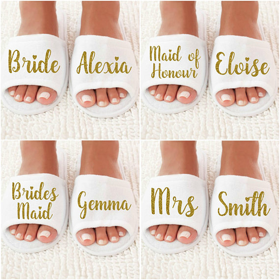 Personalized Wedding Slippers Bridal Party Slippers: Personalized Title Names Wedding Bridesmaid Bride Spa