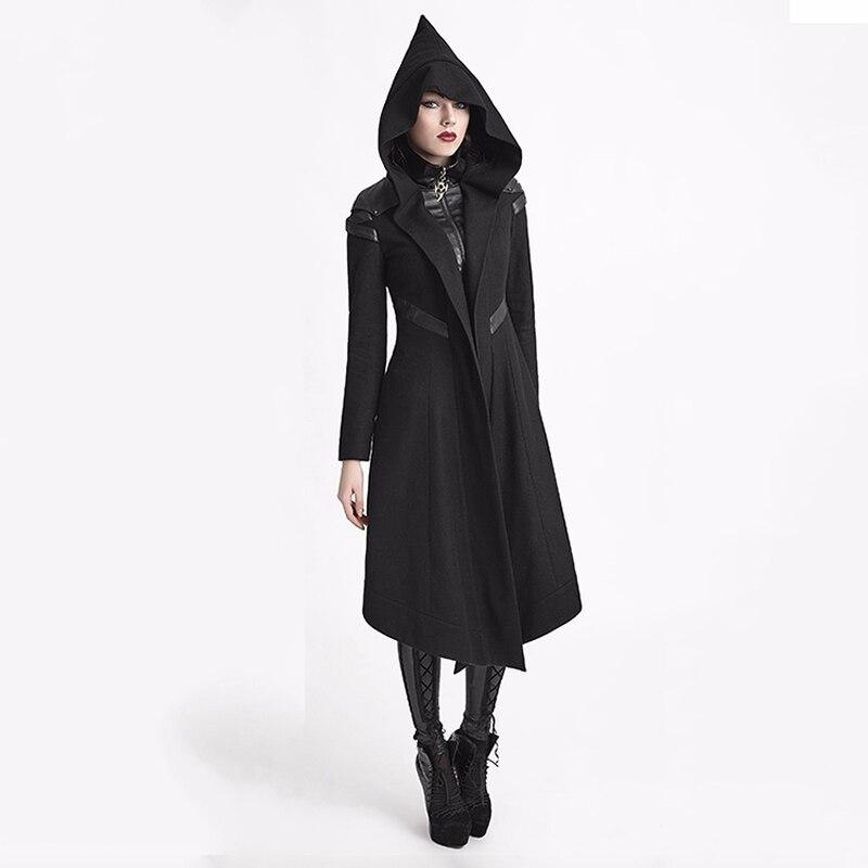 Панк Rave Для женщин пальто с капюшоном черный гот Косплэй Cyber стимпанк ведьмы длинная куртка