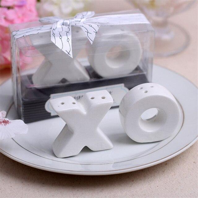 Matrimonio Bomboniere : Set di ceramica lettera o sale pepe shaker bomboniere
