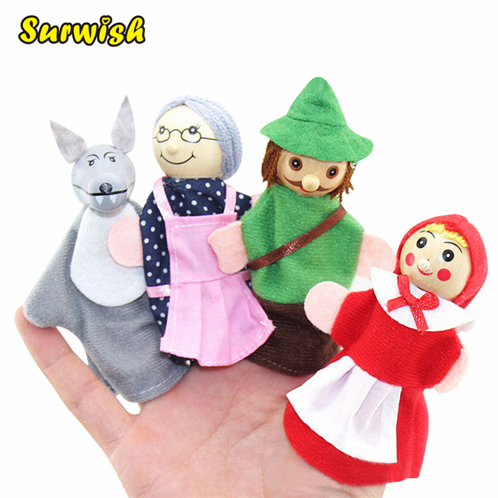 Surwish 4PCS/Set Fairy Tale Little Red Riding Hood Finger Puppets Storytelling Doll Kids Children Baby Educational Toys