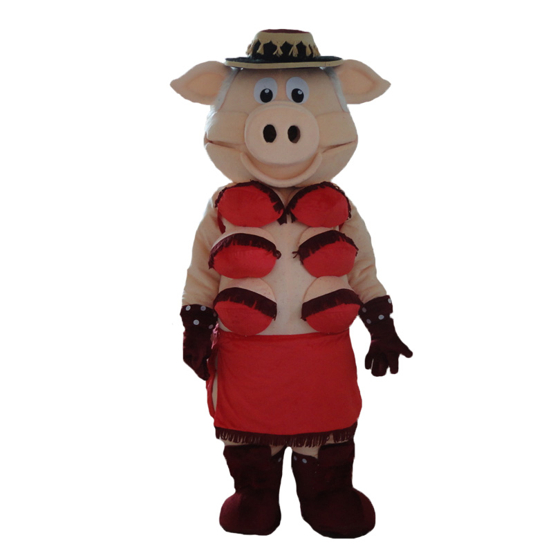 Kuklalar Striptiz Zolaqlı Donuz Swinish Mascot Kostyumunun yüksək - Karnaval kostyumlar - Fotoqrafiya 2