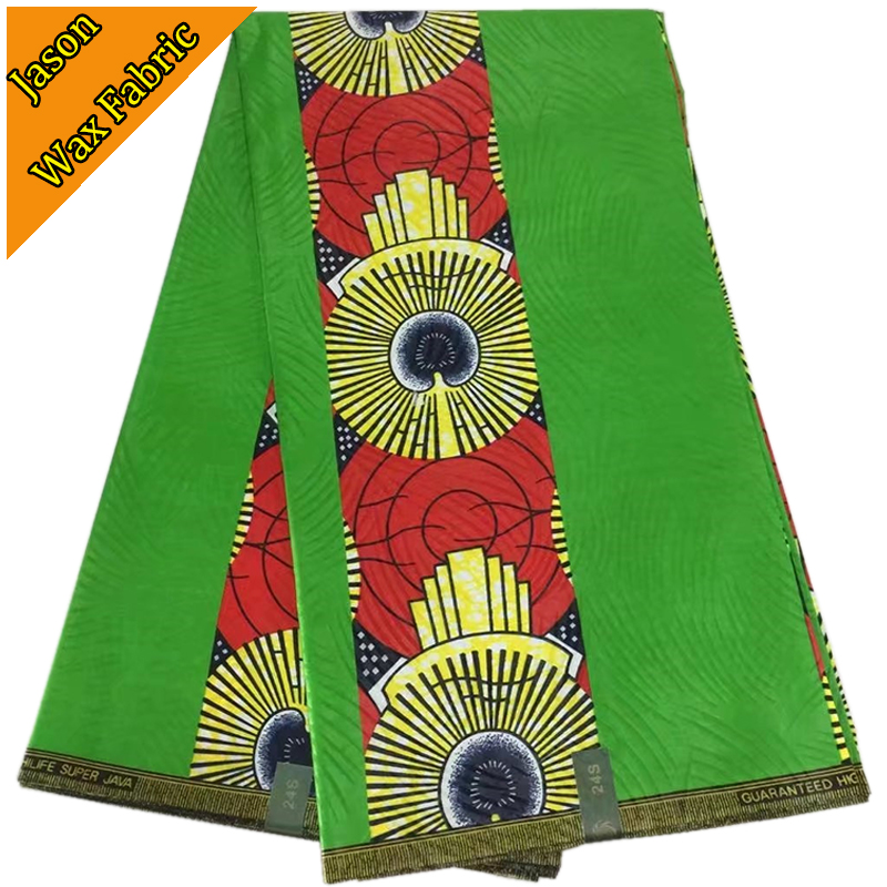 New design green Super java material top quality cotton fabric african ankara print wax for wedding dresses 6yard/lo LS