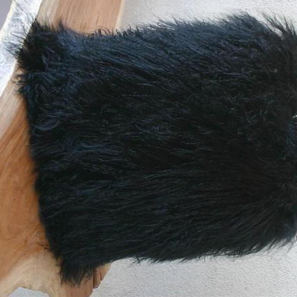 Black Mongolian Fur Pillow Cover Decorative Pillows Wedding ...