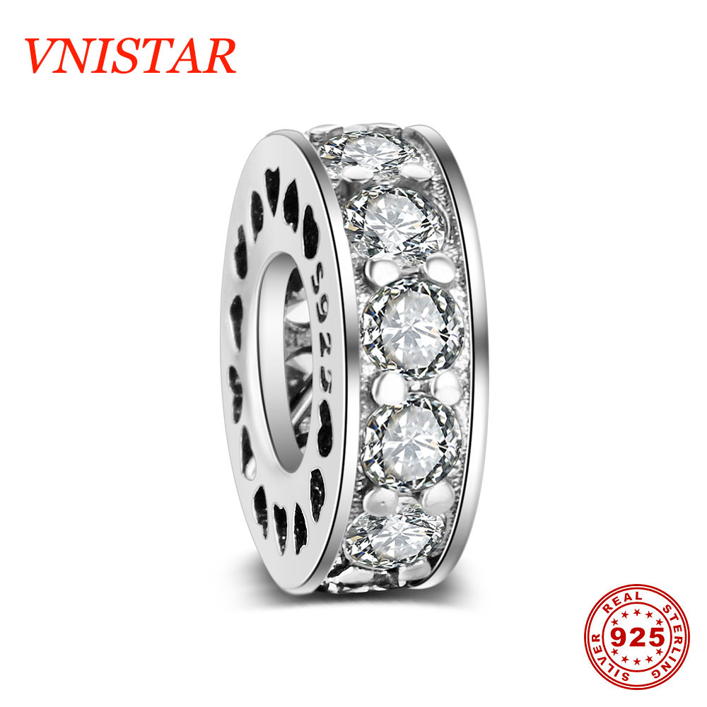VNISTAR 21 Styles Vnistar S925 Sterling Silver Spacer Beads Jewellery Making Bead Charms Heart Star CZ Pave Beads Wholesale