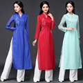 2017 New Ao Dai Long Cheongsam Women's Embroidery Silk Long Sleeve Dress WJ115