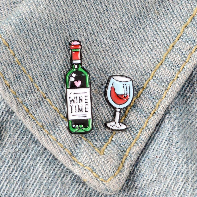 Rượu Vang Thời Gian Mini Dễ Thương Rượu Vang Và Rượu Vang Kính Cặp Đôi Chân Đỏ Rượu Vang Chai Lọ Xòe Men Pin Huy Hiệu Cho Những Người Yêu Thích người Bạn Thân Nhất Chân