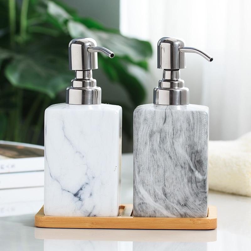 Ceramic Hand Washing Liquid Bottling with Wood Pad 1