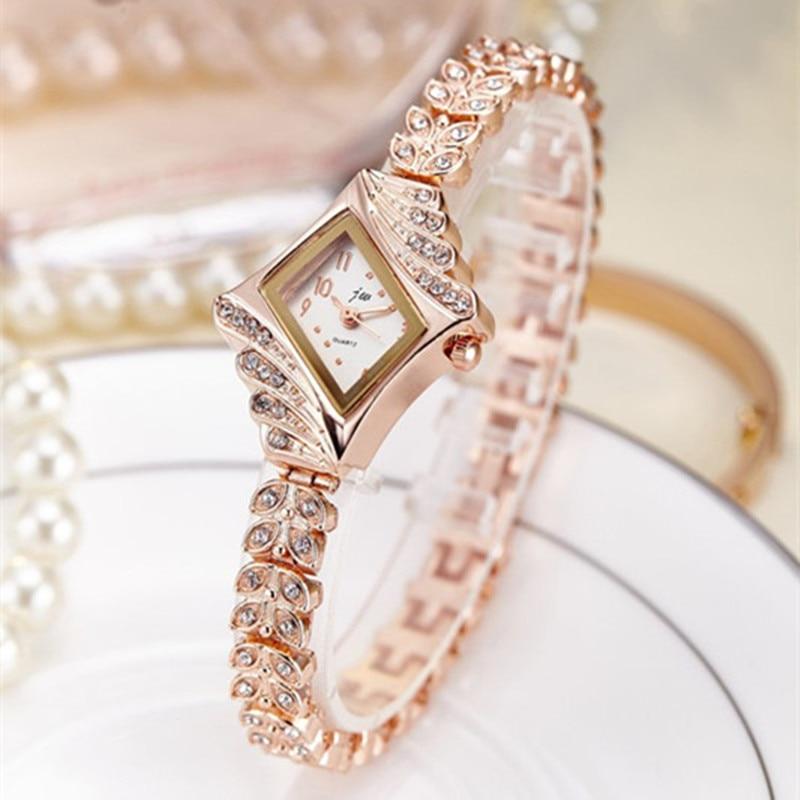 2017 JW Top Brand Women Bracelet Watches Luxury Rhinestone Gold Dress Watch Women Fashion Casual Alloy Quartz Wristwatches JW061 2017 new brand jw quartz watch women luxury gold