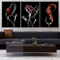 Free Shipping 3 PANELS Home Deco Wall Decorative Frameless Oil Painting Wine Glass Print On Canvas
