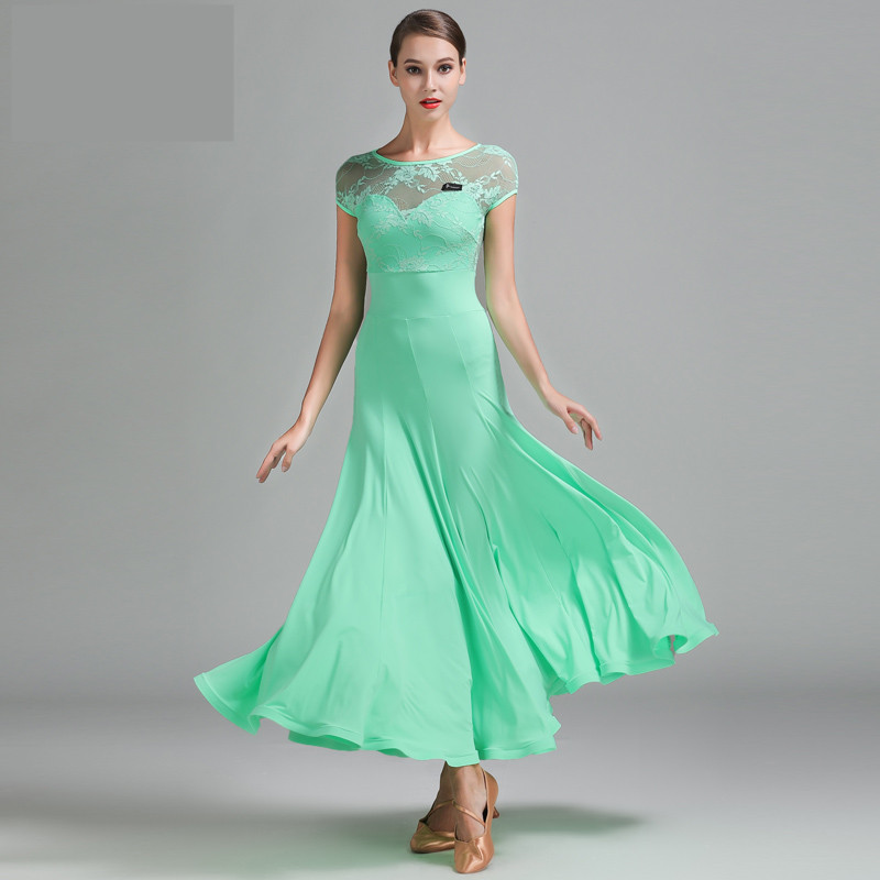 Fashion sexy 3 kind colors Lace short sleeves standard women s dances dresses for ballroom dancing