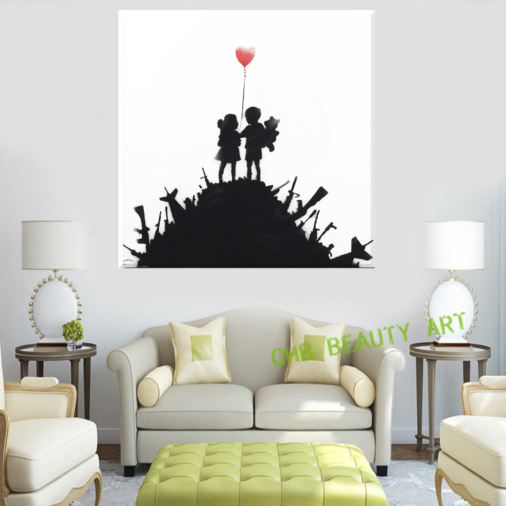 popular banksy pop art buy cheap banksy pop art lots from china canvas painting printed banksy graffiti art boy and girl pop art decorative pictures wall pictures for