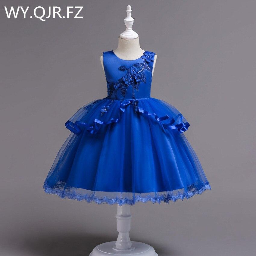BH725#Blue Flower Girl Dresses Medium Big Size Children Irregular Gauze Princess Wedding Party Prom Christmas Performance Dress