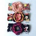 20 unids/lote en capas de flores a juego que chispea Rhinestone diademas florales Flowergirl venda del bebé venda de la muchacha
