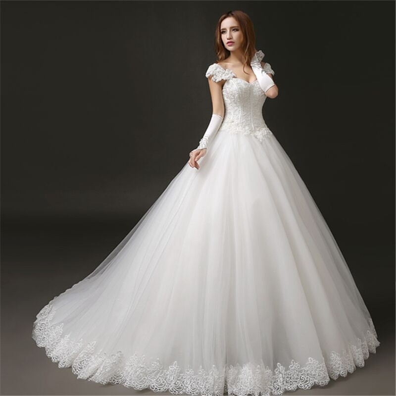 Ball Gown with Lace Straps Wedding Dress